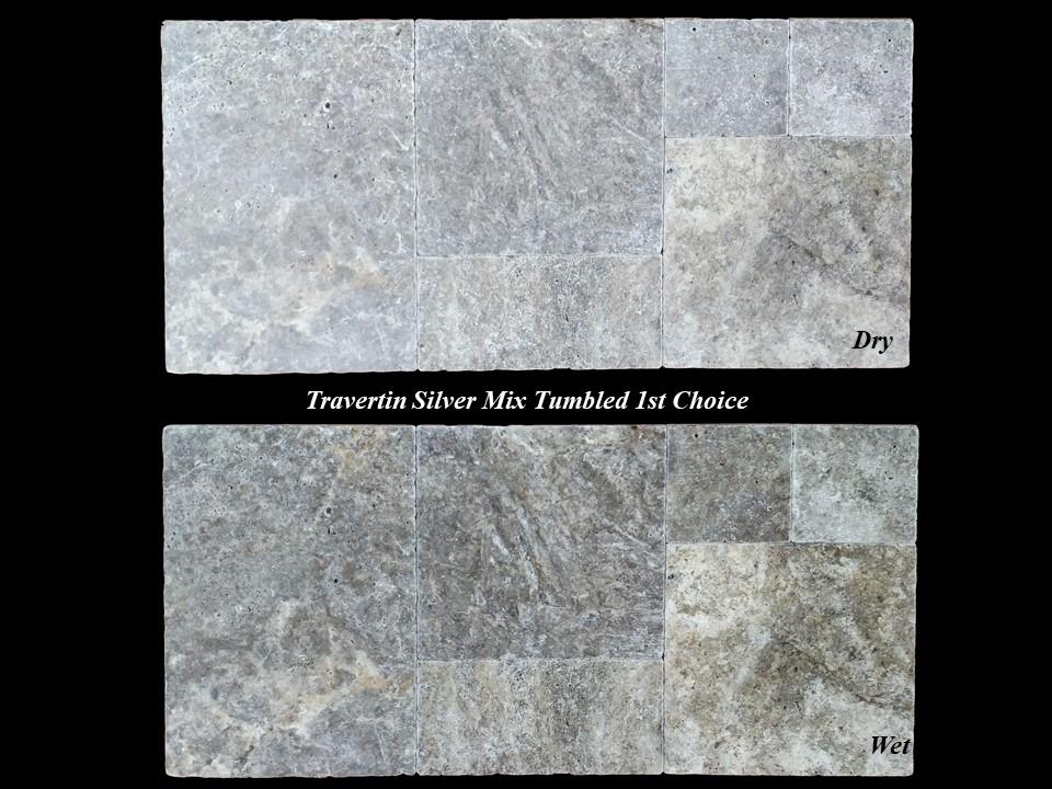 Travertin Silver Mixe Vieilli 1er Choix